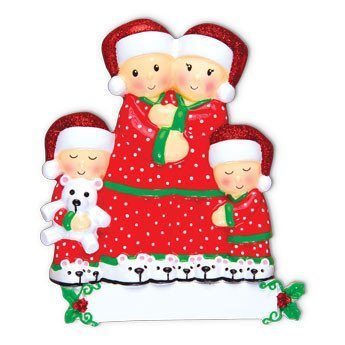 pajama family of 4 ornament