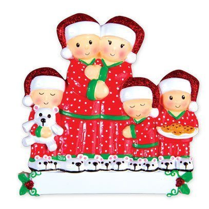 pajama family of 5 ornament