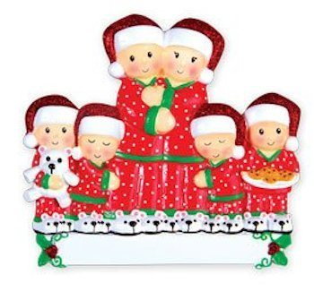 pajama family of 6 ornament