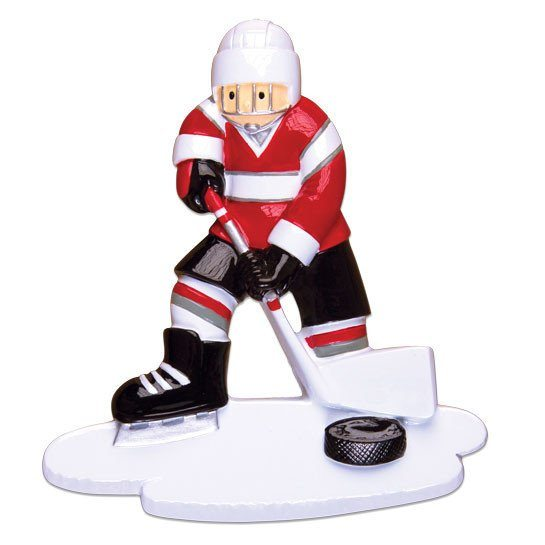 red and black hockey player ornament