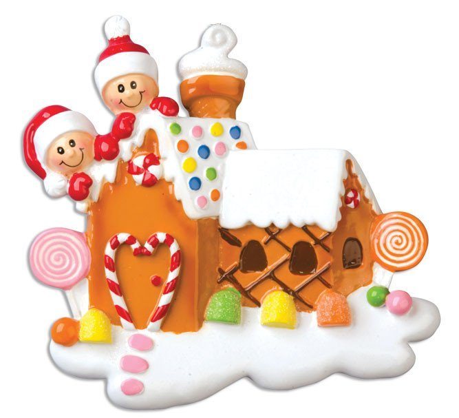 gingerbread house family of 2 ornament