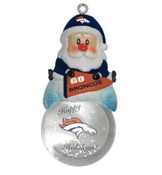 Denver Broncos nil football santa snow globe ornament