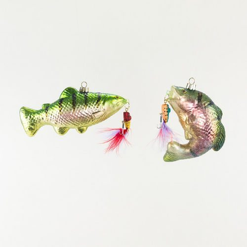 bass on hook fishing ornament