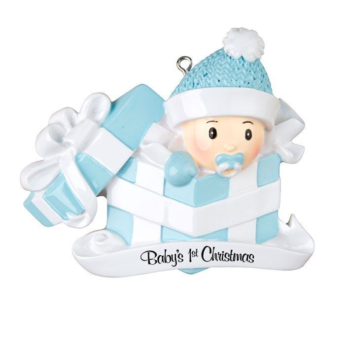 Baby's First Christmas Boy In Present Ornament - Christmas Store