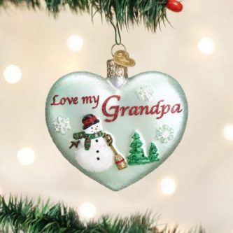 old world christmas love my grandpa glass heart ornament