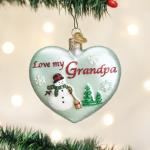 old world christmas love my grandpa glass heart ornament