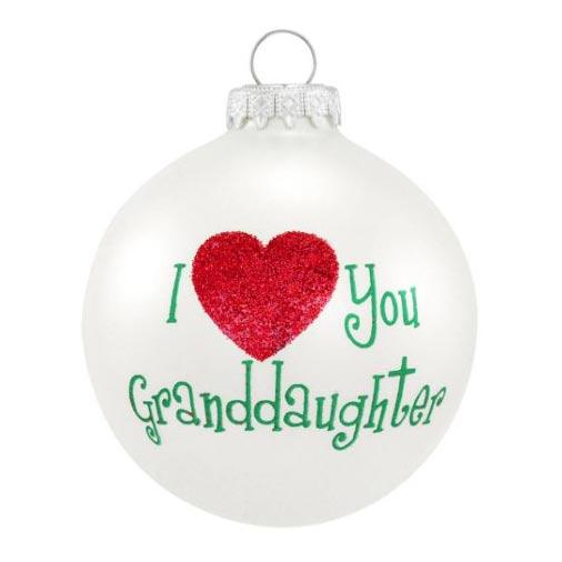 I love you granddaughter glass ornament