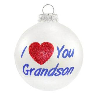 i love you grandson glass ornament