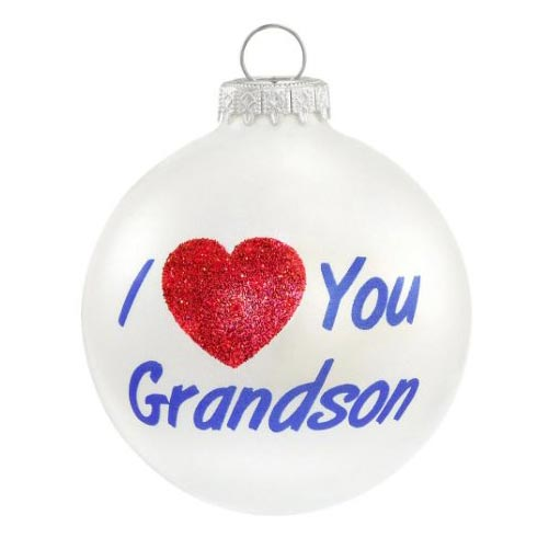 i love you grandson glass ornament