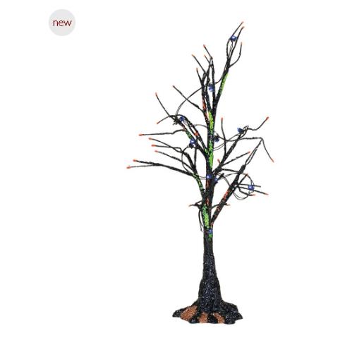 department 56 black light bare branch tree