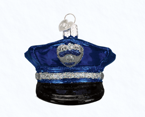 old world christmas police officers cap ornament