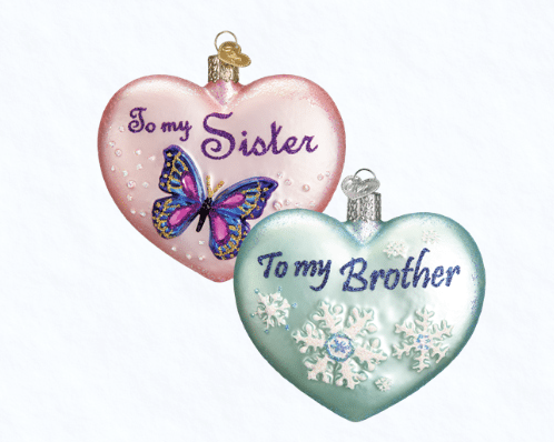old world christmas sibling heart ornament