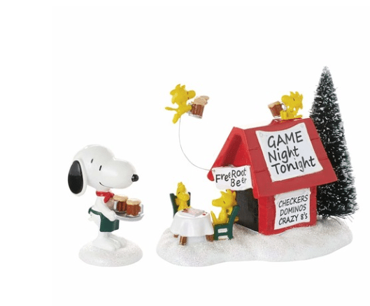 department 56 peanuts snoopy's game night