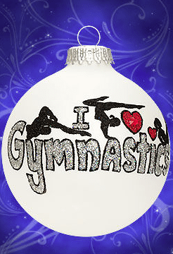 i love gymnastics glass ornament