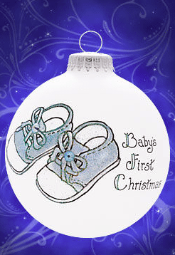 baby first christmas boy booties ornament