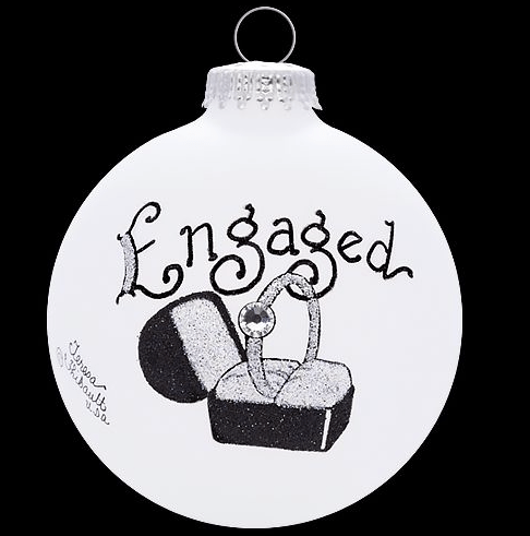 engaged ring in box ornament