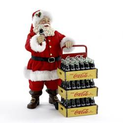 coca cola santa with delivery cart