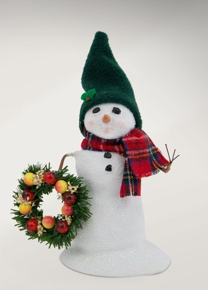 byers choice small snowman with wreath