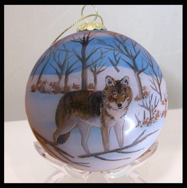 colorado winter wolves glass ornament