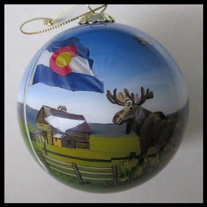 colorado state flag summertime  moose ornament