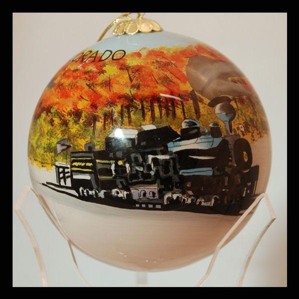 colorado fall leaves train ornament