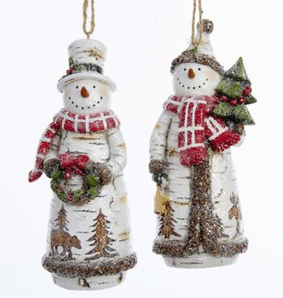 birch snowmen ornaments