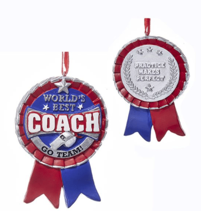 worlds best coach ribbon ornament