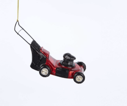 glass lawnmower ornament