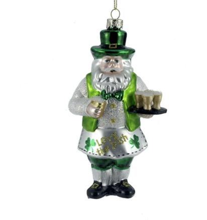 glass irish santa ornament