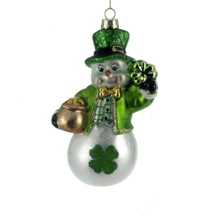 glass irish snowman ornament