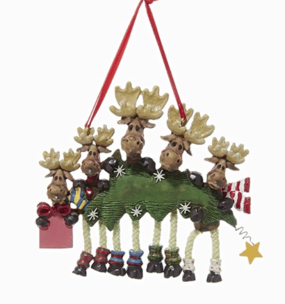 family of 5 moose with tree  ornament