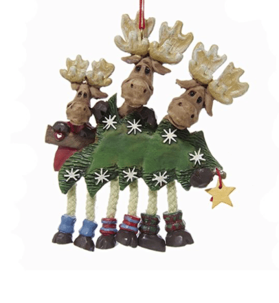 family of 3 moose with tree ornament