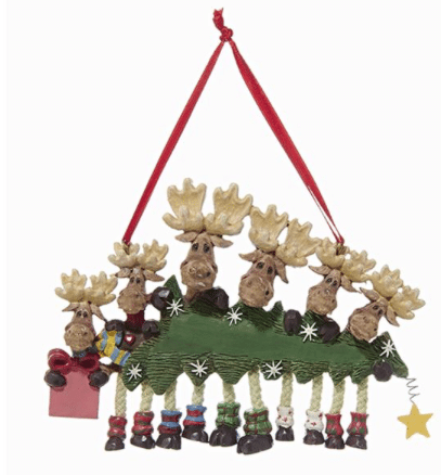 family of 6 moose with tree ornament