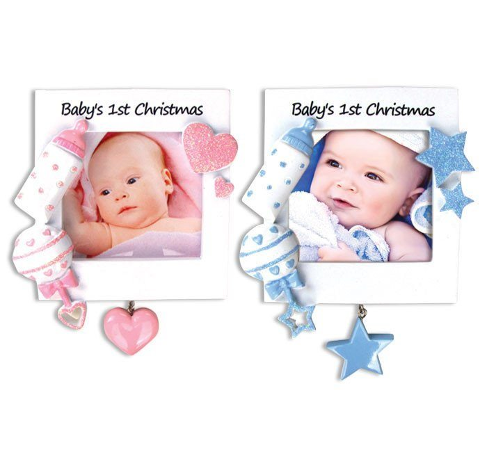 baby's first christmas boy girl frame ornament