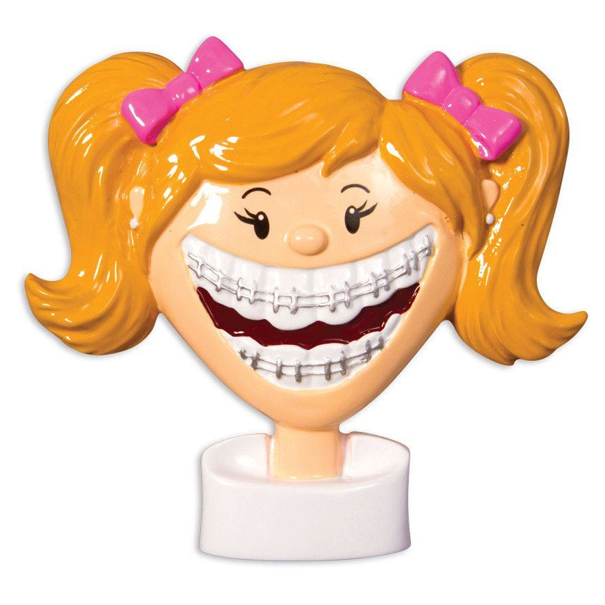 brace face girl ornament
