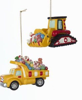 bulldozer and dump truck candy carrier ornament