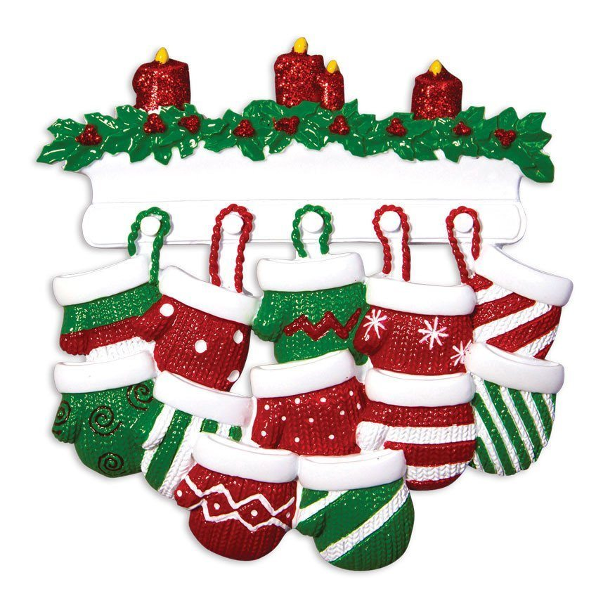 family of 12 mittens on mantle ornament