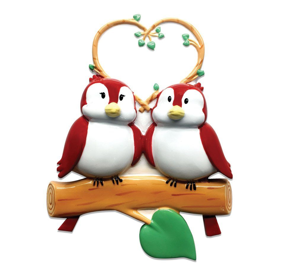 family of 2 birds on branch ornament