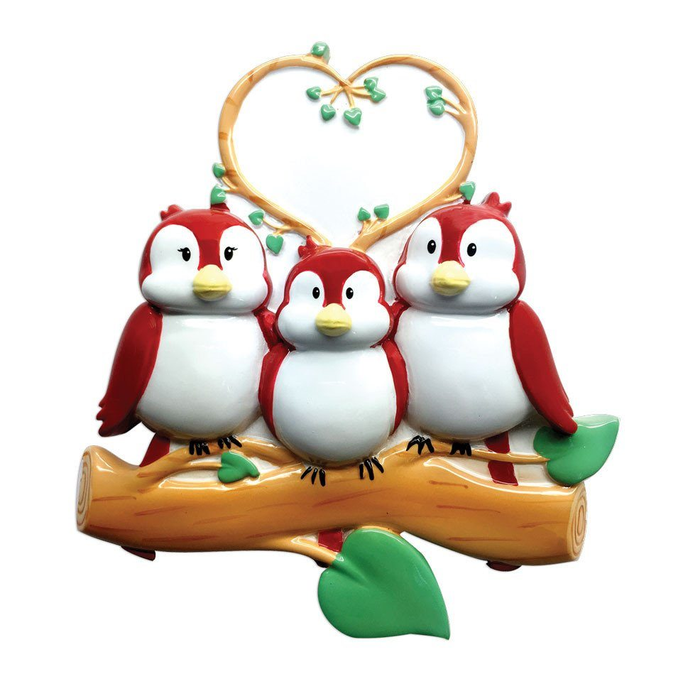 family of 3 birds on branch ornament