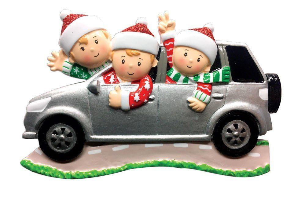 family of 3 in suv ornament