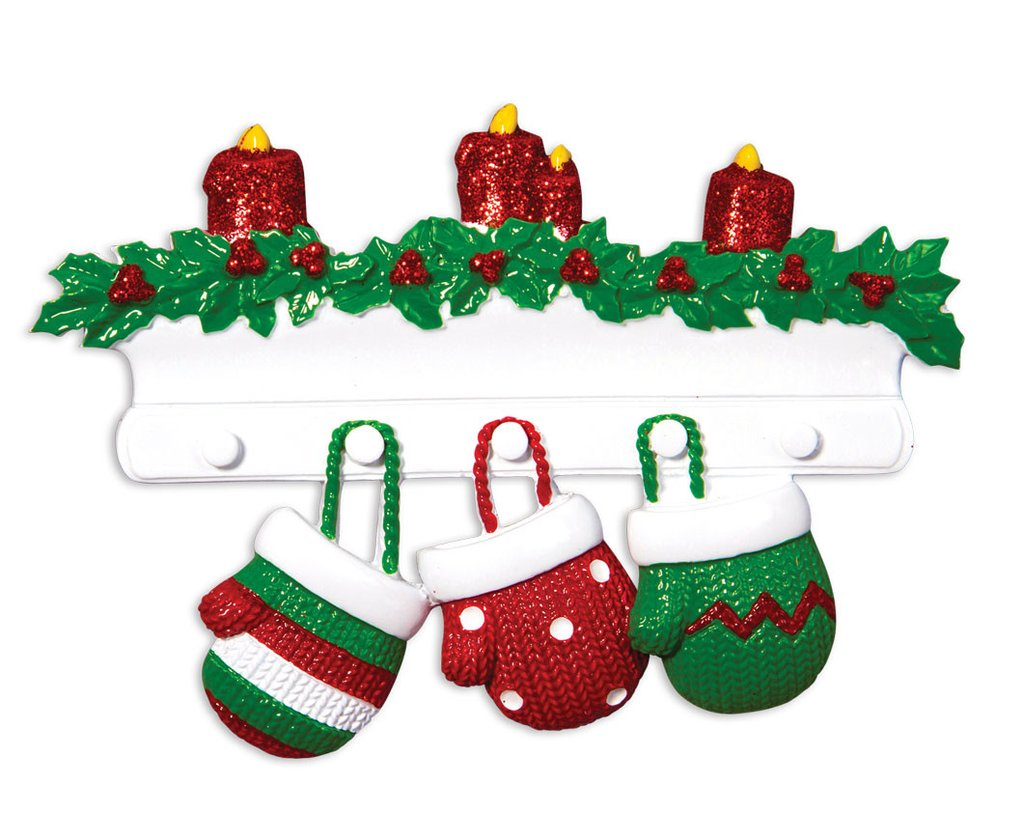 family of 3 mittens on mantle ornament