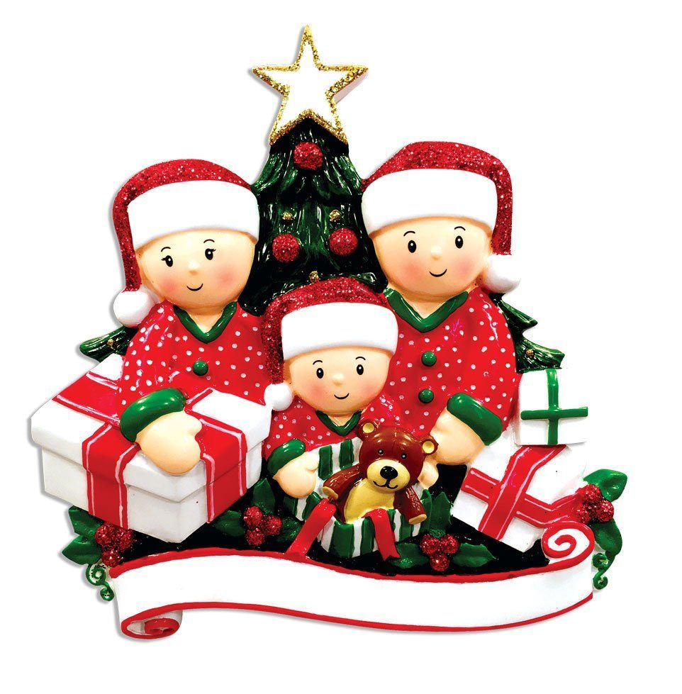 family of 3 opening presents ornament