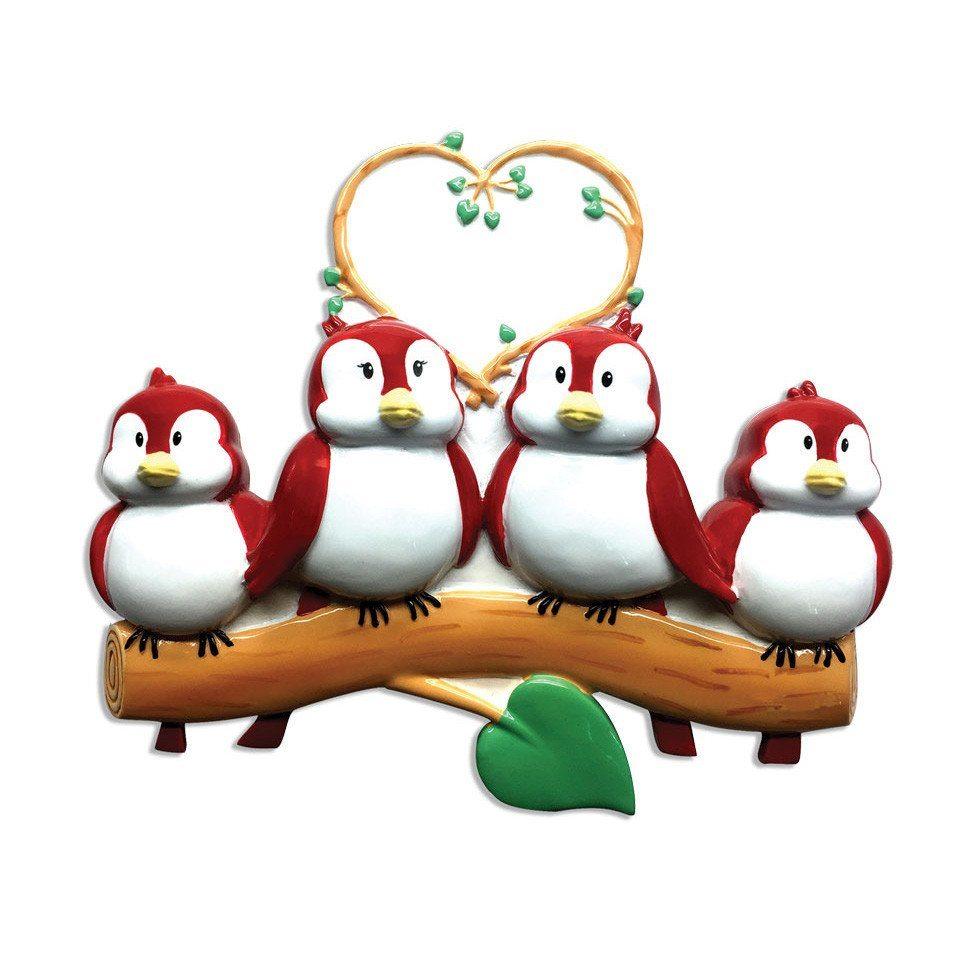 family of 4 birds on branch ornament