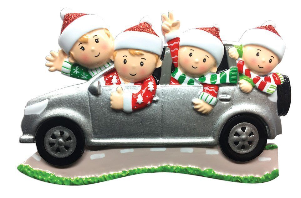 family of 4 suv ornament