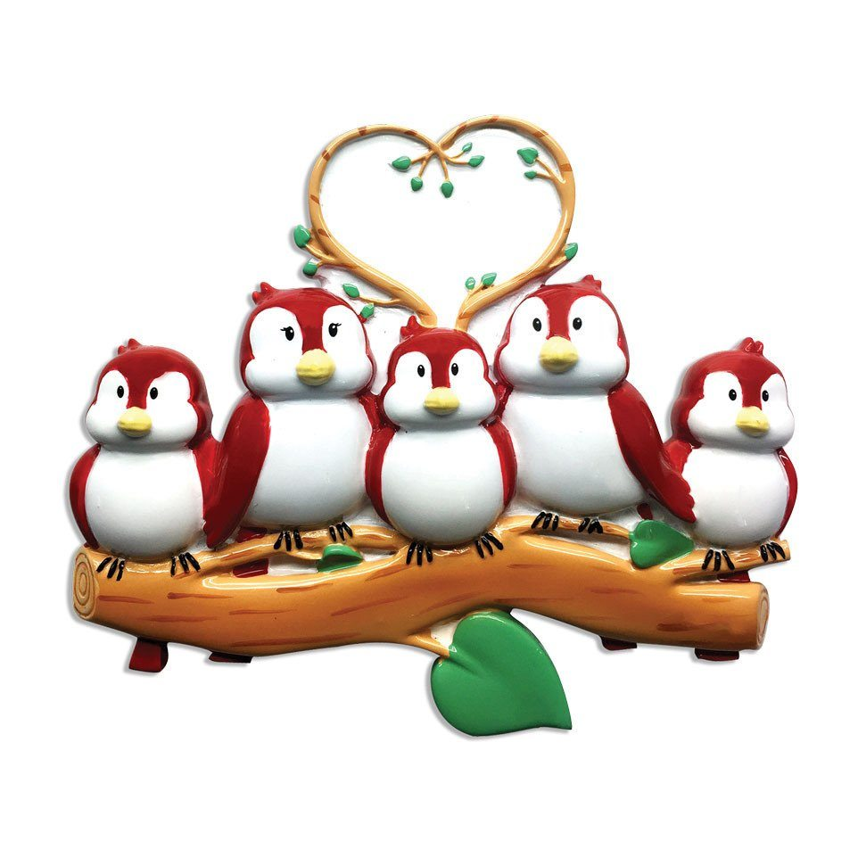 family of 5 birds on branch ornament