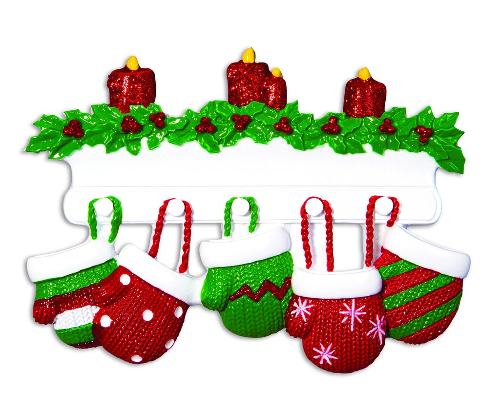 family of 5 mittens on mantle ornament