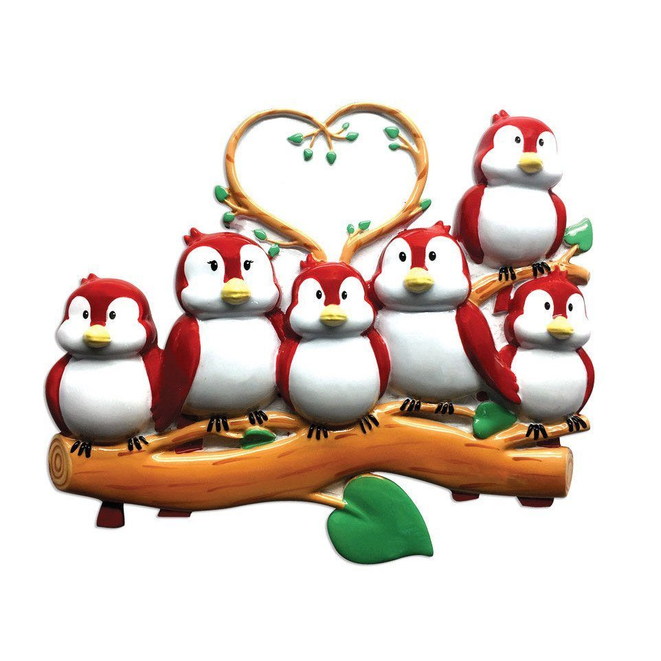 family of 6 birds on branch ornament