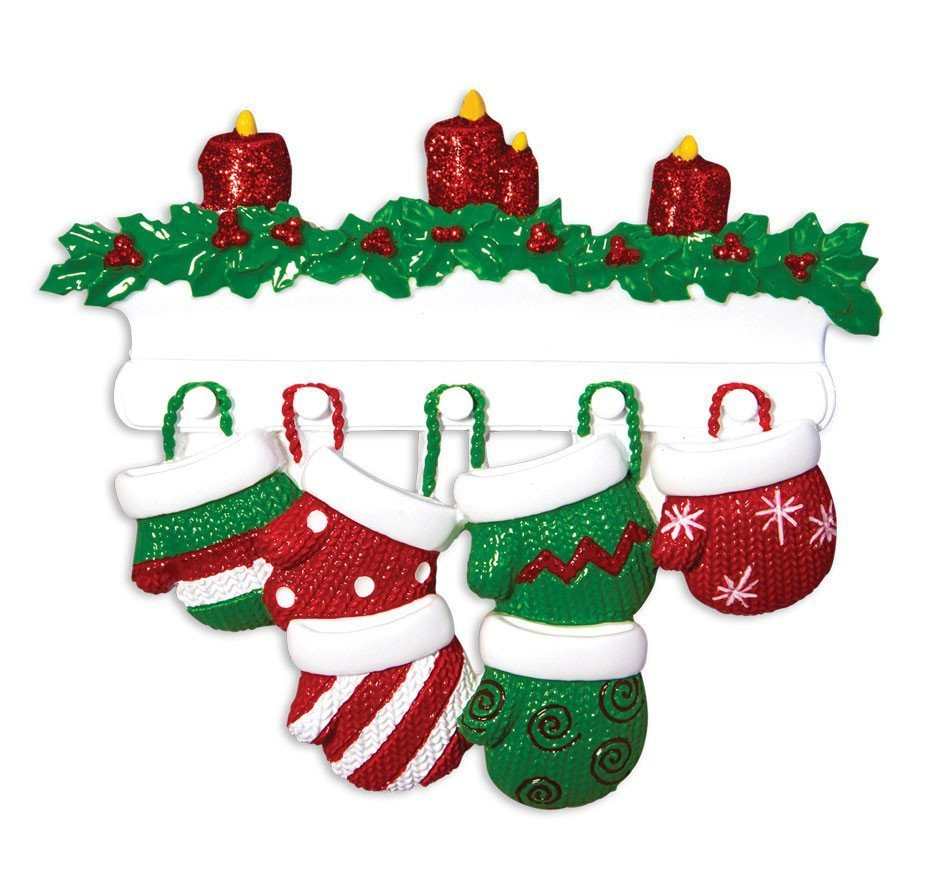 family of 6 mittens on mantle ornament