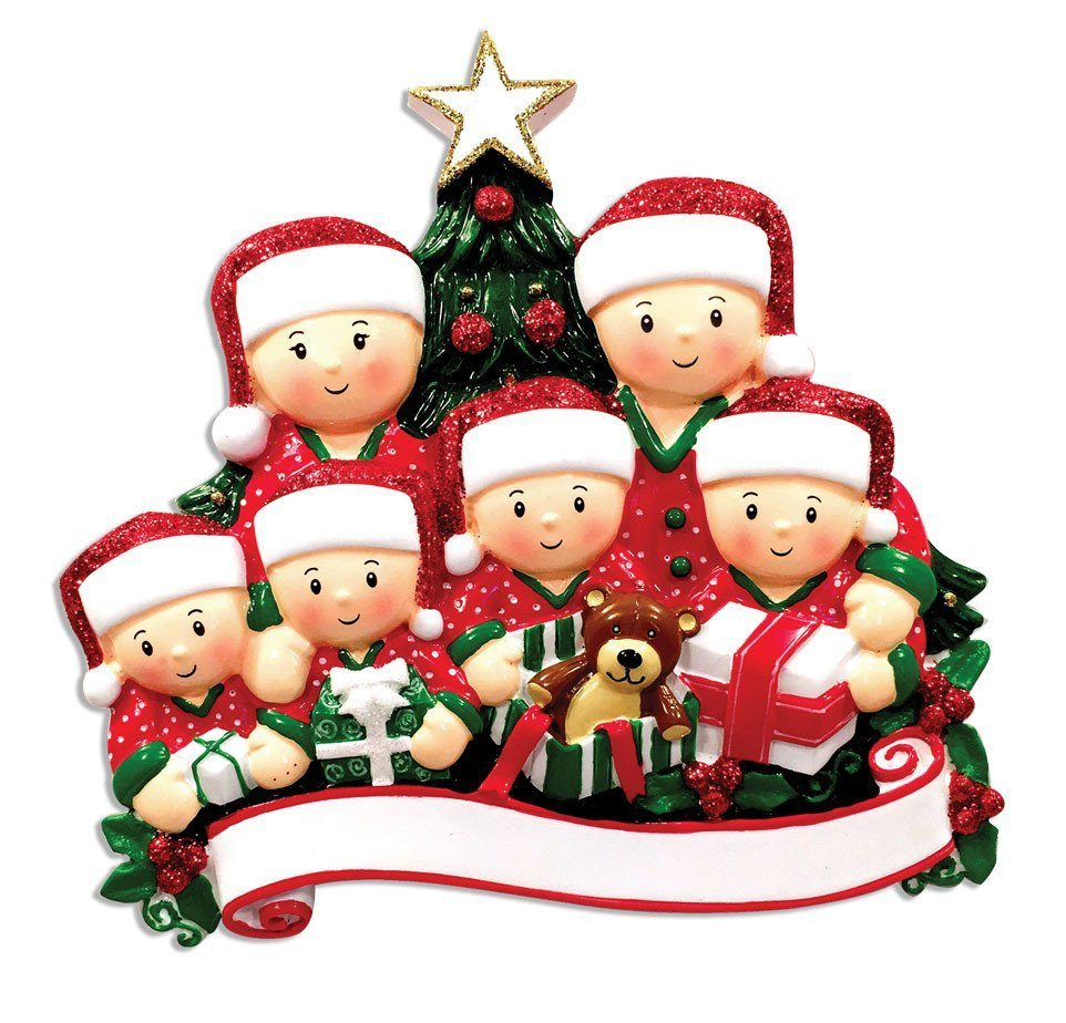 family of 6 opening presents ornament