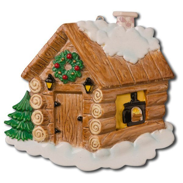 log cabin home ornament